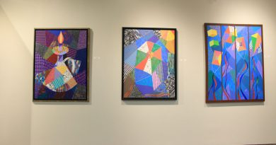 Photo of several artworks by Fred Thomas.