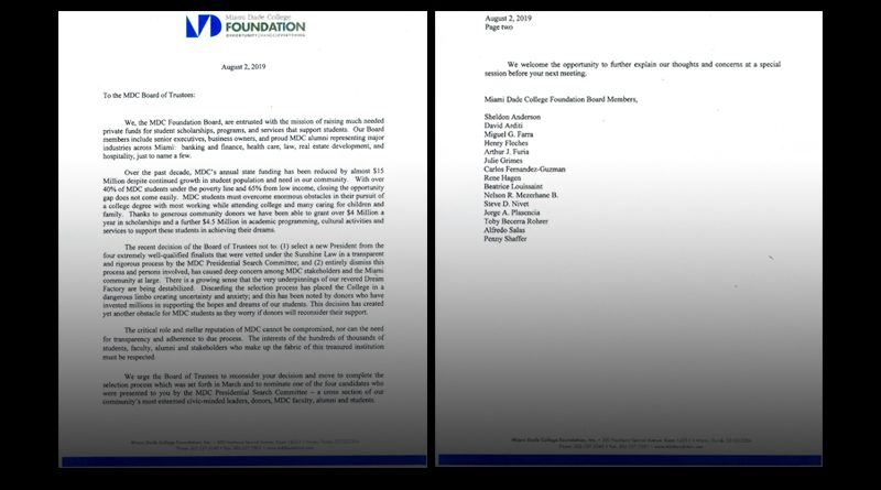 MDC Foundation letter condemning decision to reboot presidential search.