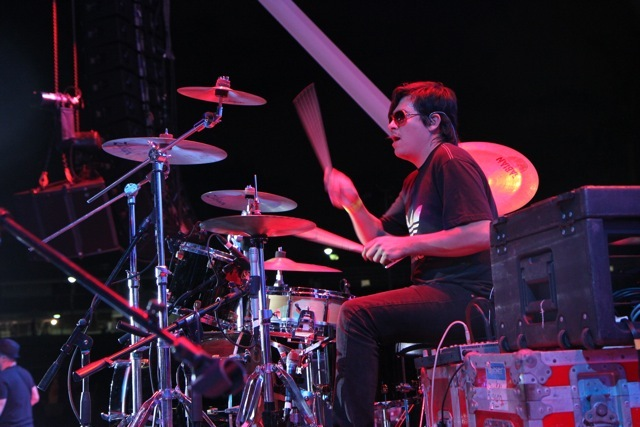 Alejandro Angee playing the drums.