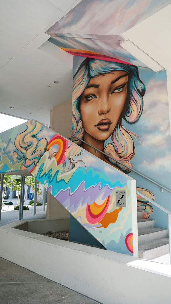 Mural on a staircase.