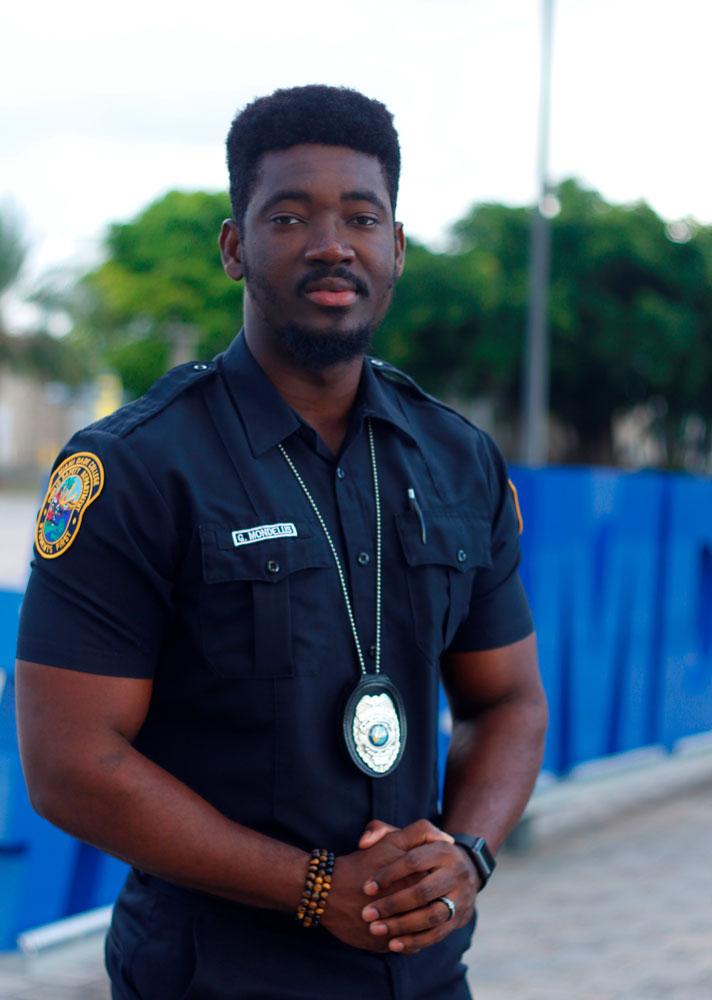 Gasly in his public safety uniform.