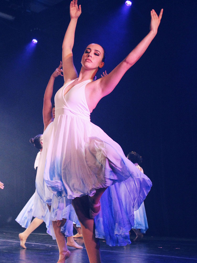 Ballerina dancing on stage.