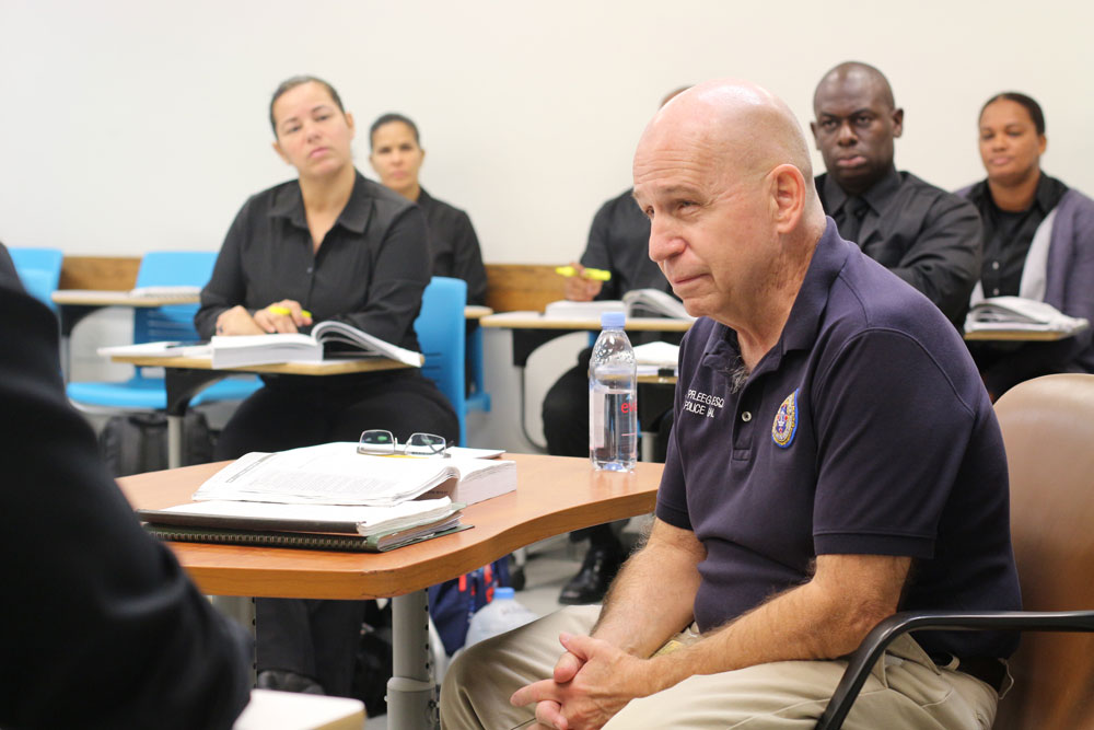 Pfleegor in class with his students.