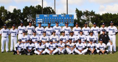 Men's baseball team posing for a group picture.