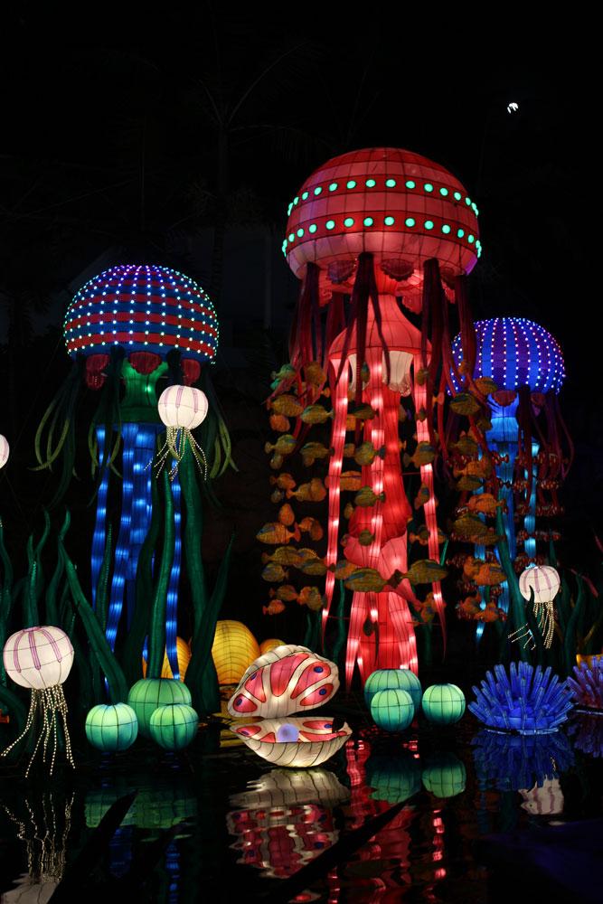 Lighted up jellyfish lanterns.