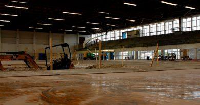 Inside the former basketball gym.