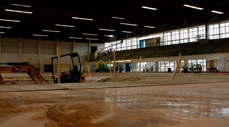 Inside the former basketball gym.