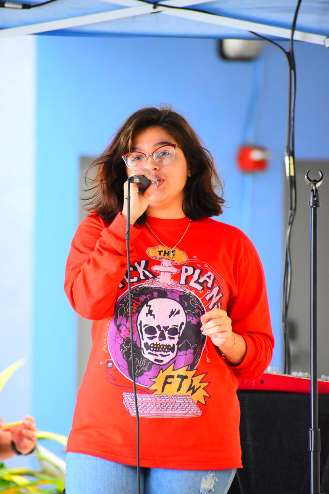 A student singing.