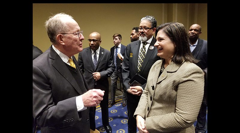 Senator Lamar Alexander and MDC vice president and provost Lenore Rodicio chatting.