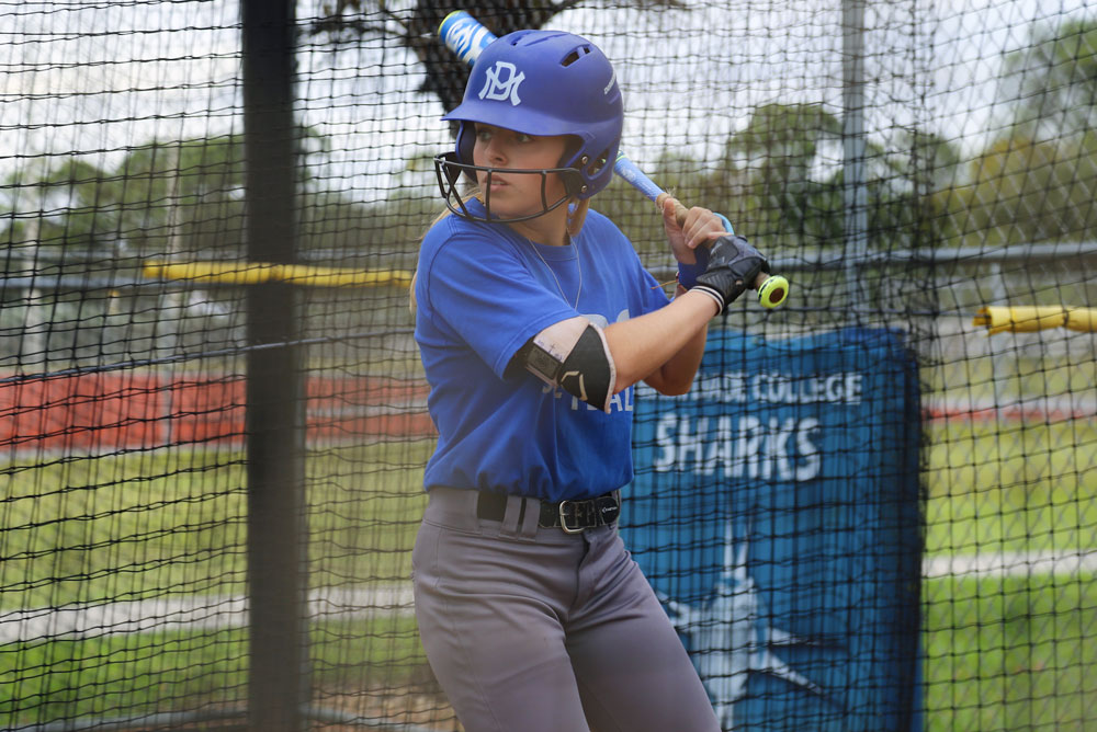 Amber Dalfonso practicing her batting.