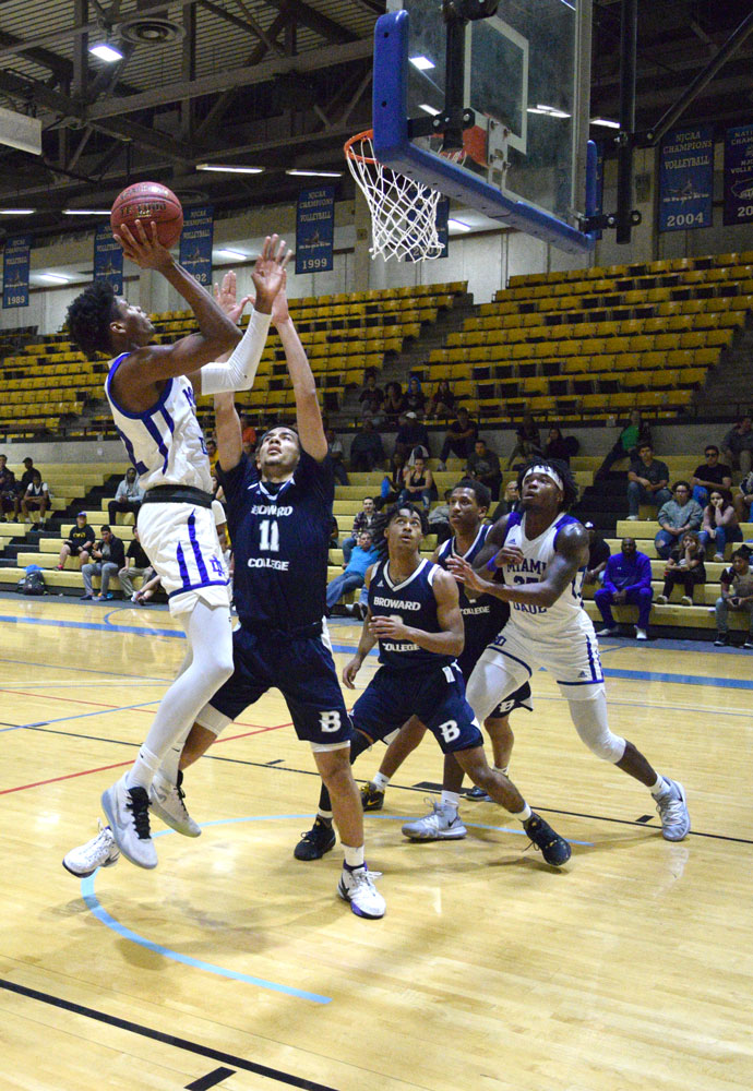 Forward Victor Hart going for a basket.