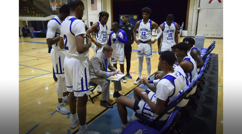 MDC's men's basketball team during time out.