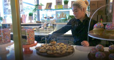 Baker Kaitlyn Quintero with baked cookies.