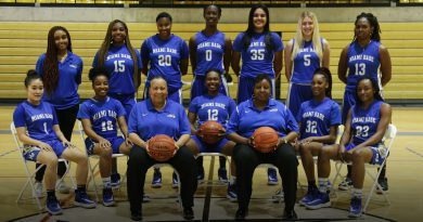 Lady Sharks basketball team posing for the camera.