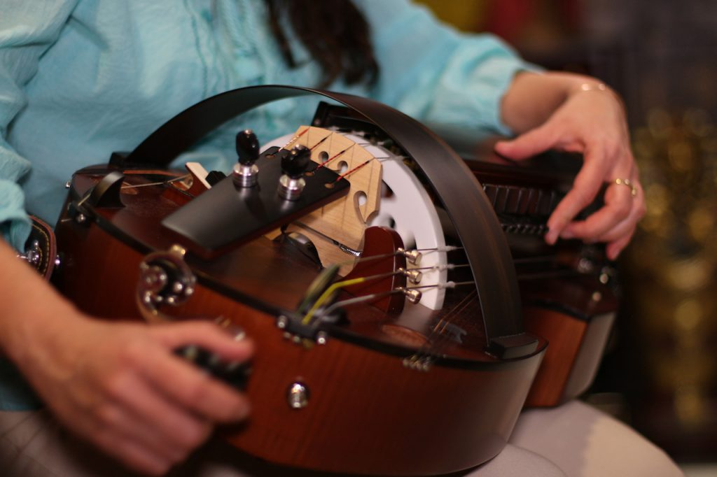 A close-up of the Hurdy-gurdy.